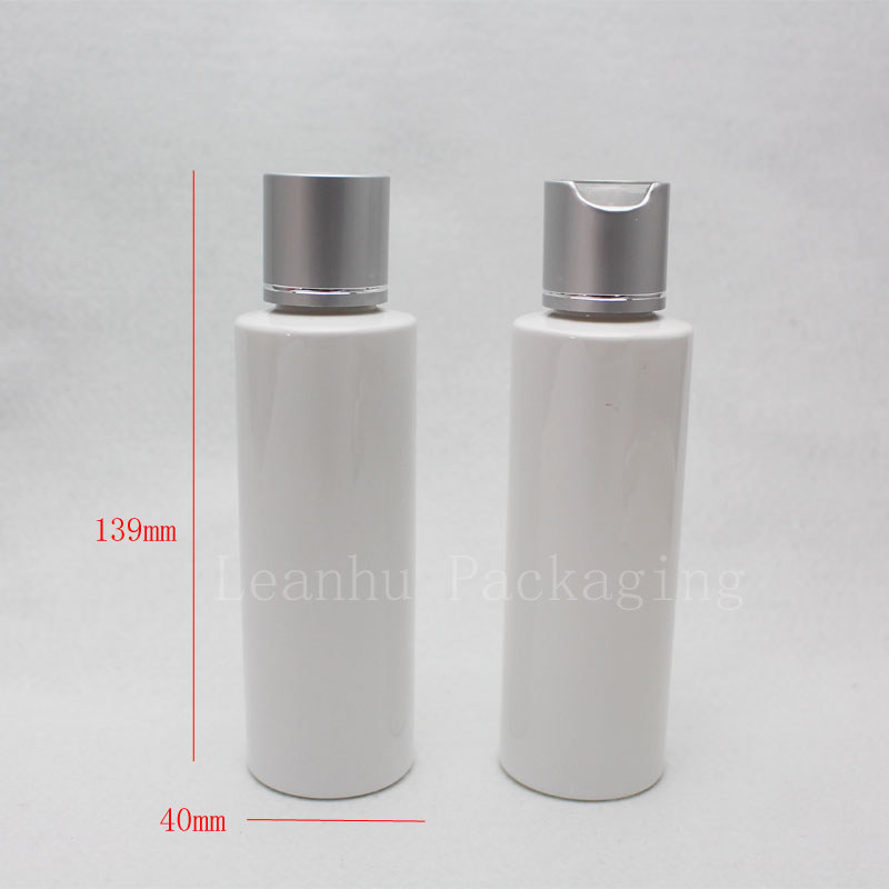 120ml white bottle with silver disc top cap (2)