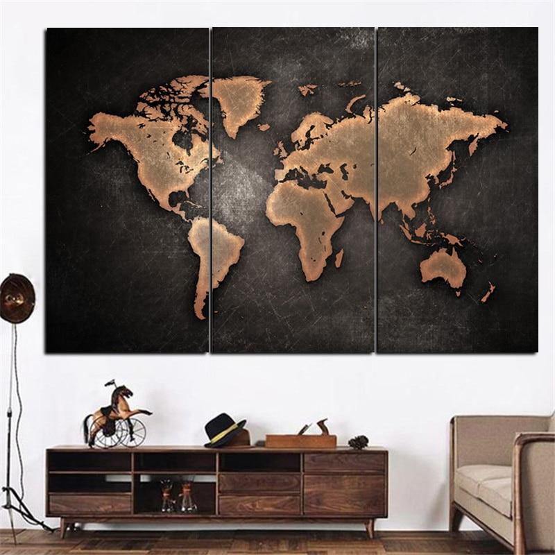 3 Panel Druckt Große Vintage Weltkarte Abstrakte Ölgemälde auf ...
