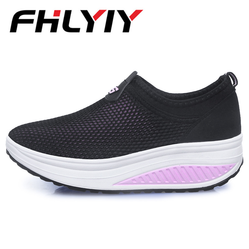 Summer Style Women Casual Shoes WomenS Swing Shoes Breathable Mesh Platform Shoes Single Elevator Shoes Tenis Masculino Adulto