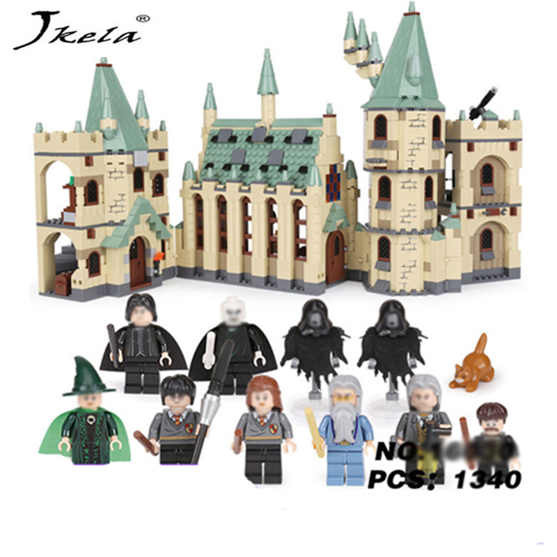 [Hot] 1033pcs Movie Series Hogwarts legoingly castle Building Blocks Bricks Kits Compatible With legoingly castle hot mobile game movie angried king pig castle building block crazy birds minifigures bricks compatible legoes 75826 toys for kid