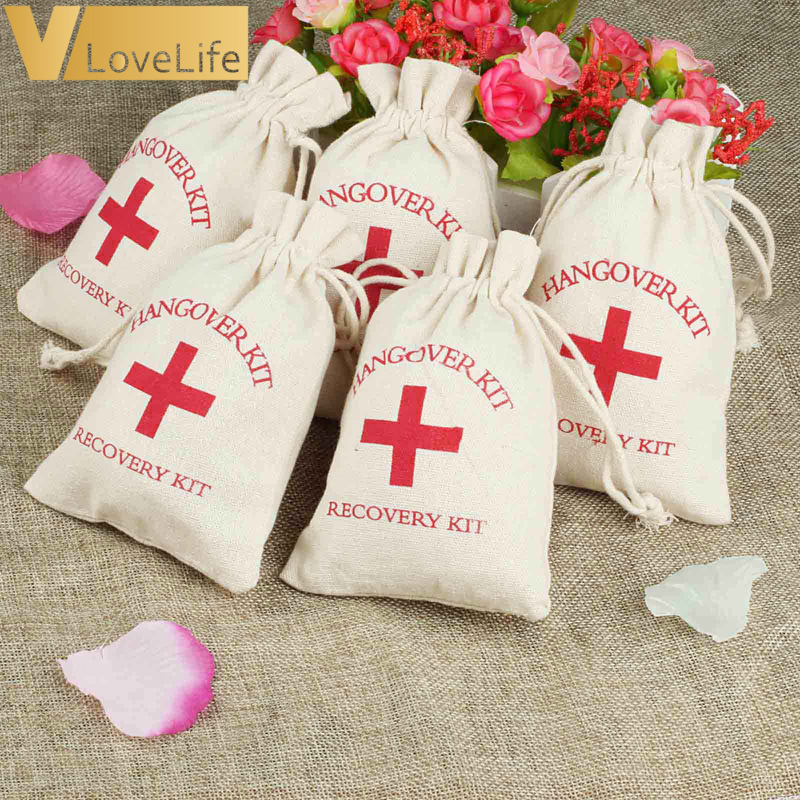 50pcs Hangover Kit 10x14cm Wedding Favor Holder Bag Red Cross Cotton Linen Gift Bags Recovery Survival Kit Event Party Supplier
