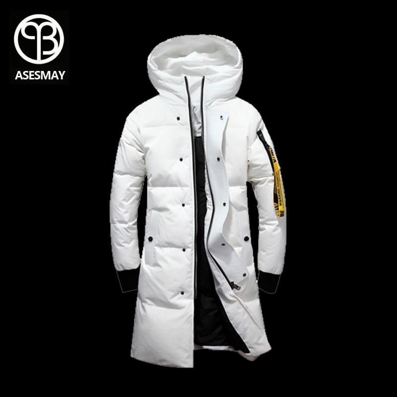Asesmay 2018 marque x-long hommes vers le bas veste chaude de ventes à capuchon hommes blanc duvet de canard parkas d'oie plume chaud épais de neige outcoat