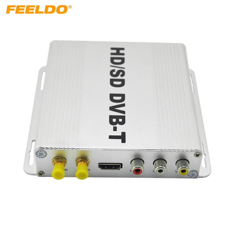FEELDO Digital Dual Tuner Car HD H.264 MPEG-4 HD/SD Various Channel DVB-T Receiver Mobile DVB-T BOX With PVR USB HDMI #FD-2915 futv4622a dvb t mpeg 4 avc h 264 sd encoder modulator tuner cvbs rca in rf out with usb upgrade for home use