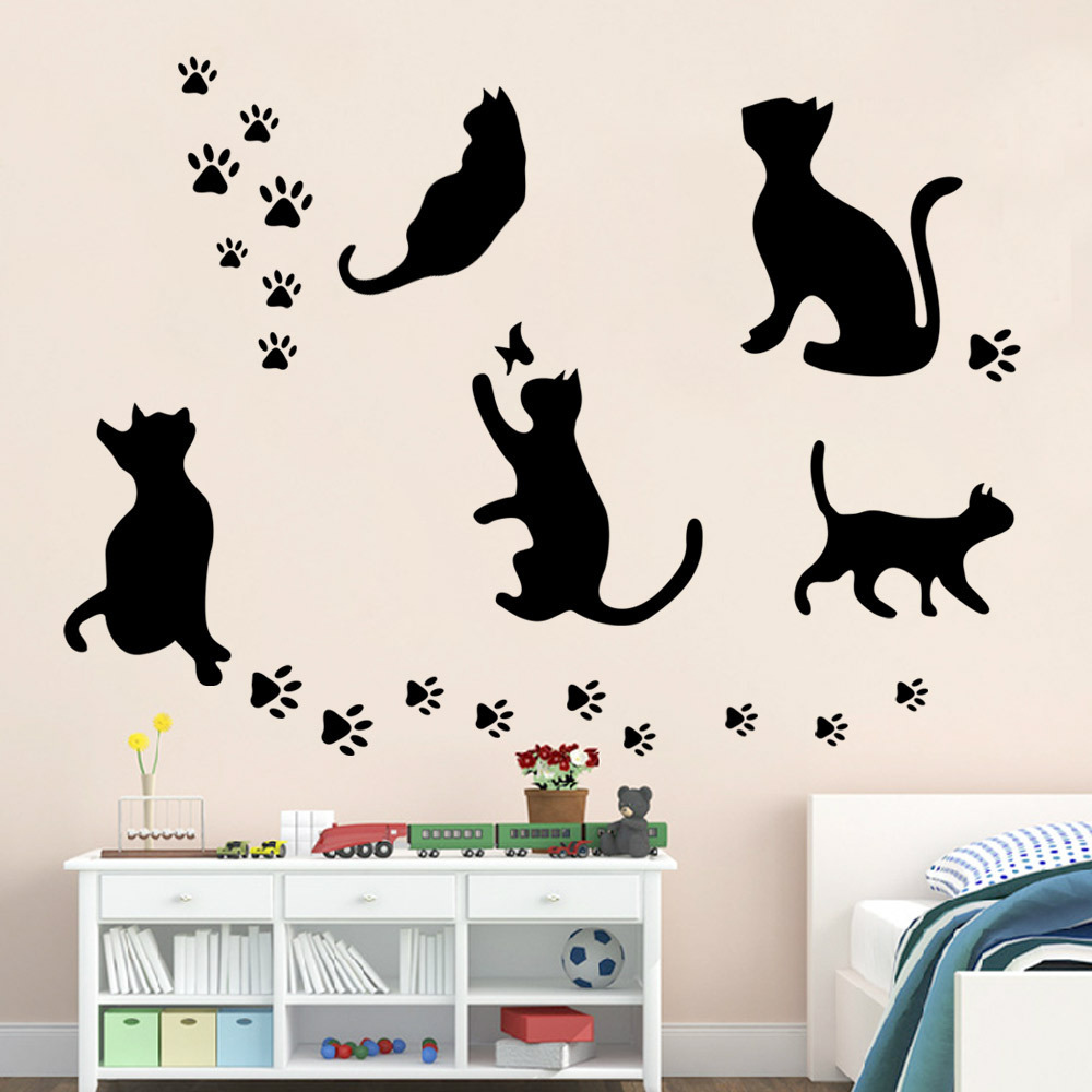 Wall stickers cat - 5 Big Cat Set Hot Selling Removable Wall Decal 5pc Black Cat Home Decoration Stickers Diy
