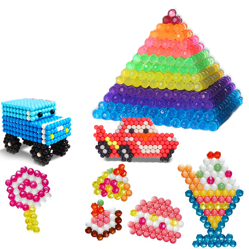 3000PCS/Set Jewel Beads 3D Puzzle Toys For Children 6 Colors Refill Pack Water Sticky Beads Jigsaw Puzzle Brinquedo Juguetes