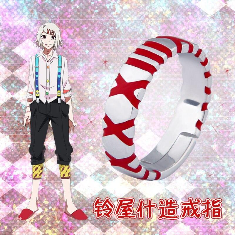 Anime Tokyo Ghoul JUZO SUZUYA REI Boy Ring 925 Sterling Silver Finger Rings Costume Props Adjustable