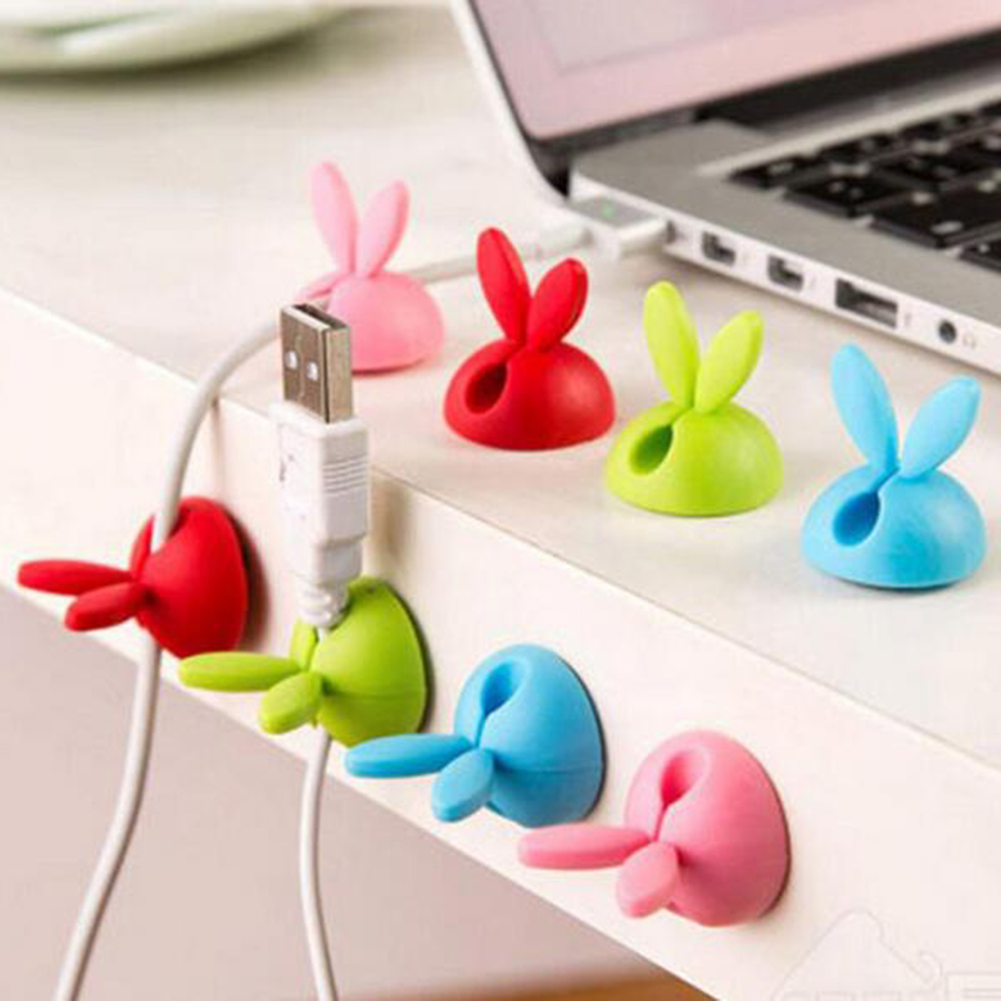 4pcs Cute Rabbit Ears Cable Winder Collation Holder Bunny Charger Wire Cord Organizer Clip Tidy Desk Earphone Fixer Bobbin Clamp Consumer Electronics
