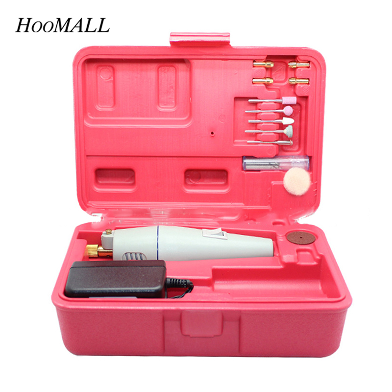 Hoomall 2018 New 1Set Micro Electric Drill Grinder Hand Drill DIY Mini Drill Electric Grinder Set Professional Grinder Tool free shipping and wholesale 1 set grinder hand drill tool fittings grinder tools