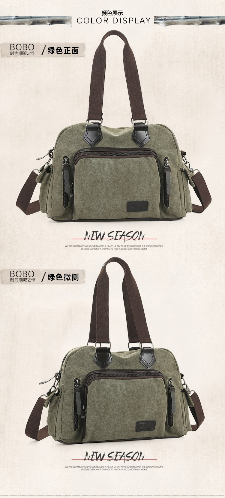 2016 men\'s travel bag canvas men messenger bag brand men\'s bag vintage style briefcase,Travel Shoulder bag (15)