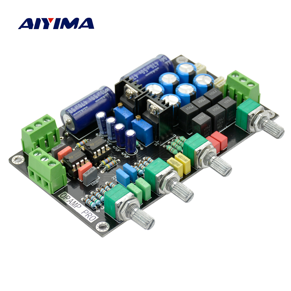 Aiyima NE5532 Tone Preamp Board OP-AMP HIFI Amplifier Preamplifier Volume Tone Control Board assembled upgraded n5 preamplifier board hifi amp board with 2134 opa