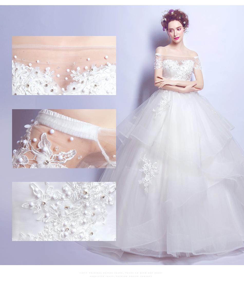 Angel Wedding Dress Marriage Bride Bridal Gown Vestido De Noiva 2017 Boat Neck Nail, lace, 2129 6