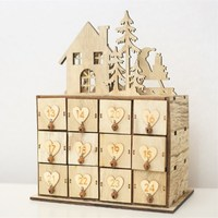 Wood Heart Ornaments Christmas Advent Calendar Drawer Jewelry Box for Wedding Decoration New Year's Toys Natural Crafts Supplies