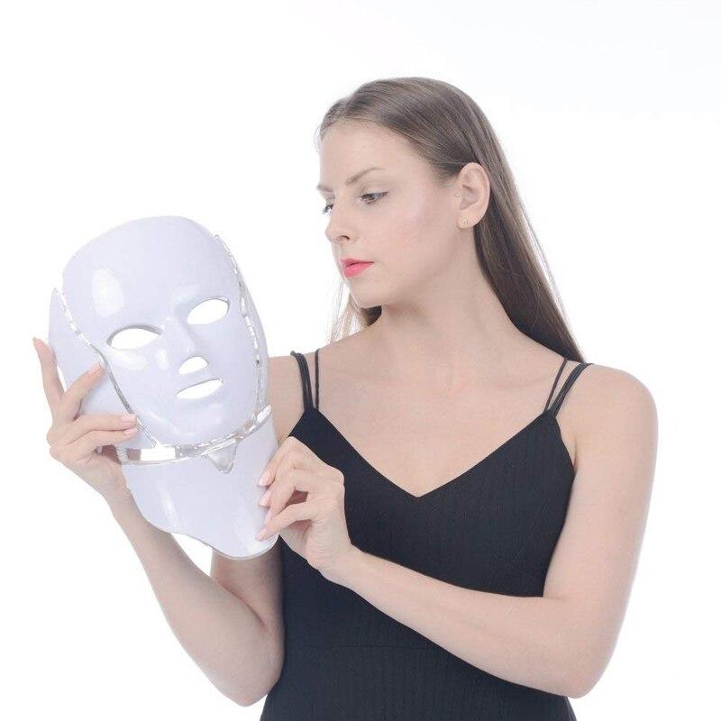 Luz LED Photon Máscara Facial Com Pescoço Cuidados Com A Pele Rejuvenescimento Reduzir Rugas Aperte Poros Rosto Tratamento Spa de Beleza Instrumento
