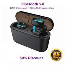 V5.0 Mini Bluetooth Écouteur Casque Deep Bass HD Réel Stéréo Sans Fil Écouteurs Bulit-dans mic TWS Écouteurs pour iPhone android(China)