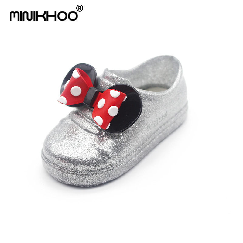 Mini Melissa 2018 Mickey Minnie Bow Jelly Sandals For Girls Children Sandals Girls Shoes Beach Sandals Plate Shoes 13cm-18cm