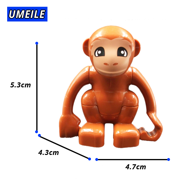 UMEILE Block Brick Diy Zoo Animal Series Big Particle Building Blocks Penguin/Fox Kids Baby Bath Toys Compatible with Duplo Gift 1