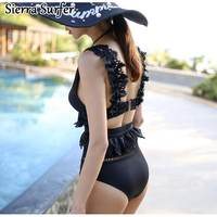 17 Years Of The New Big Hollow Lace Flounces Gather Chest Size Backless Sexy Female Swimsuit