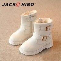 JACKSHIBO Kids Martin Boots Girls Winter Snow Boots Breathable Warming Plush Inside High Heel Lovely Baby