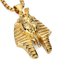 NYUK Fashion Vintage Classic Egyptian Pharaoh Head Stainless Steel Gold Silver Pendant Necklace For Men Women