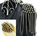 12pcs(not pair) fashion vintage Punk pointed toe cone rivet epaulette tassel brooch collar chain