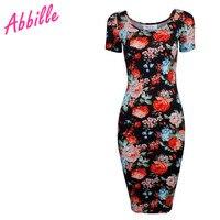 Abbille 2017 vintage çiçekli kısa kollu sıkı kadın artı boyutu o boyun retro moda yetişkinler sıcak kırmızı çiçek bodycon mini elbise