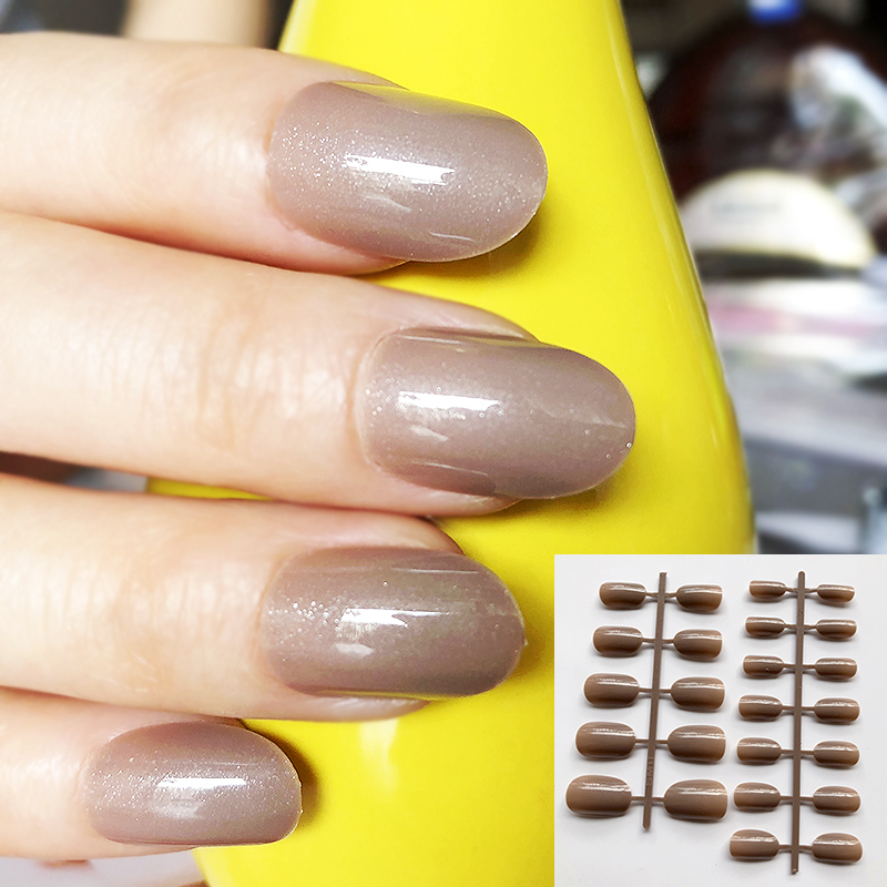 Candy UV Gel Shiny Camel Color Fake Nails Ladies Finger Nail Art Tips Round Type Decoration Short Artificial Manicure Tips
