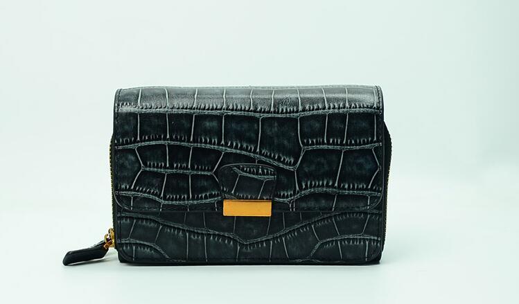 Genuine leather crocodile rectangle women doule zip purse