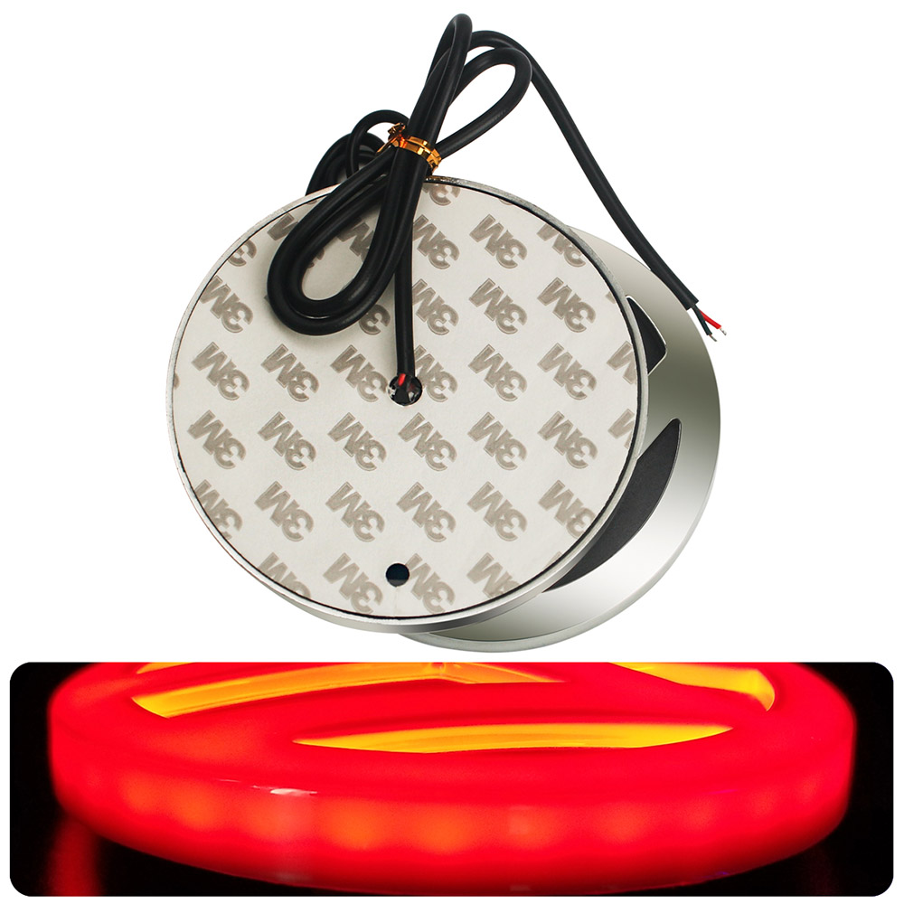 5D Emblem Light LED Red Rear Insignia Light 4D Sticker Badge Cap 110mm For Volkswagen VW Touareg BeetleT4 T5 B5 B6 Polo Bora CC