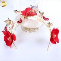 Gold Schmetterling Stirnband Handgemachte Künstliche Perle Haarschmuck Strass Tiara Einstellbare Haarband Blume stirnband Haar 89429