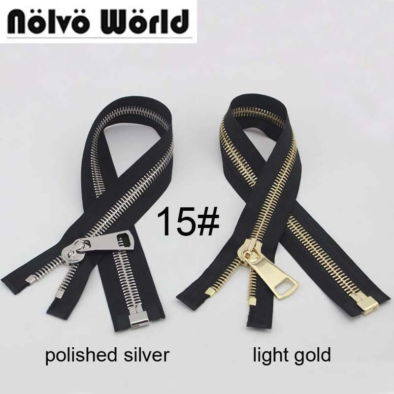 10pcs custom 50cm #15 black tape metal zipper top quality No15 big slider puller Closed-end zipper for jacket DIY bags accessory