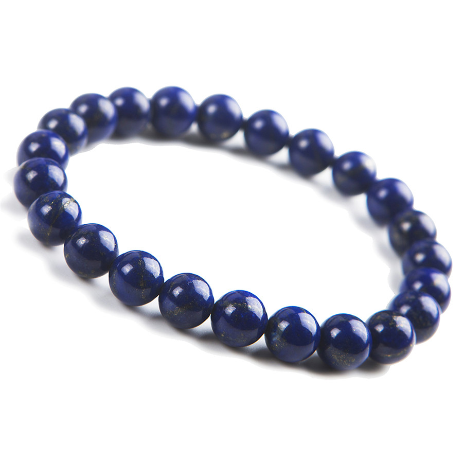 8mm Natural Genuine Blue Lapis Lazuli Bracelet For Women Femme Crystal Round Bead Charm Stretch Bracelet 7mm transparent round crystal bead bracelet for women genuine natural kunzite gems stone charm stretch bracelet femme just one