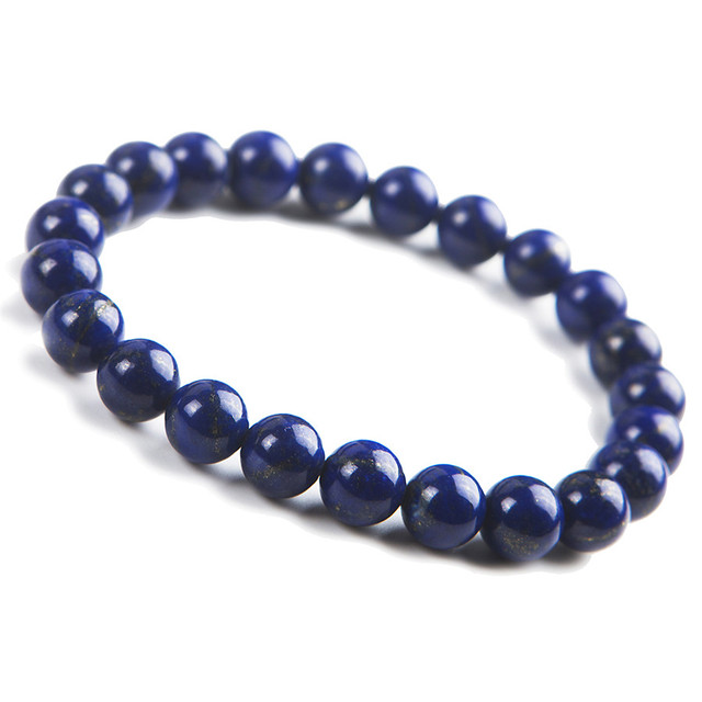 8mm Natural Genuine Blue Lapis Lazuli Bracelet For Women Femme Crystal Round Bead Charm Stretch Bracelet