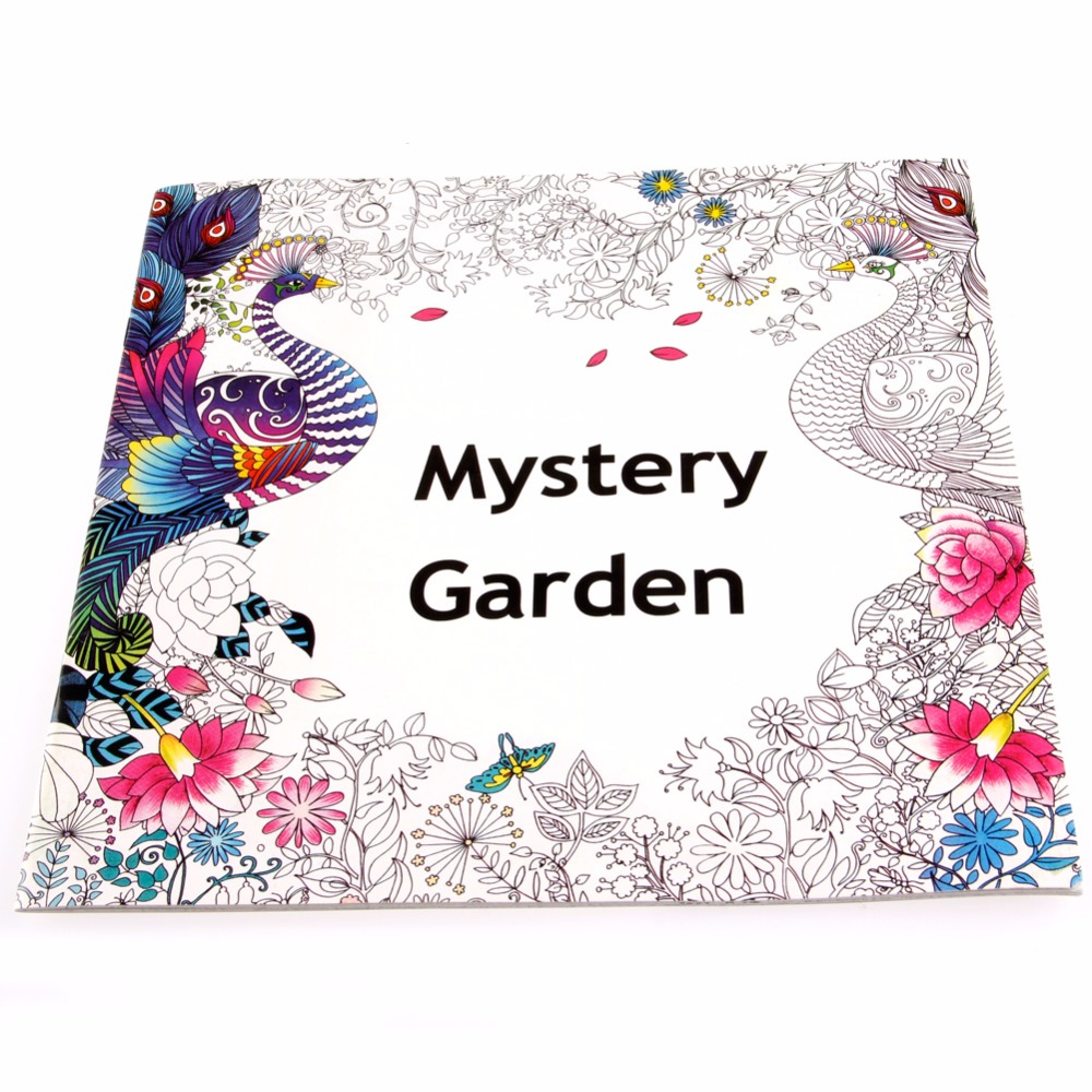 English Adult Mystery Garden Treasure Hunt Coloring Painting Book