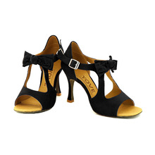 YOVE Dance Shoe Flock Women's Latin/ Salsa Dance Shoes 3.5″ Flare High Heel More Color w133-3