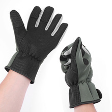 Thickened Waterproof Army Green Fishing Gloves Winter Skid-proof Warm Gloves (L)  for Fishing Lover