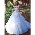 2016 Novo e Elegante Tulle Vestidos de Casamento Com Decote Em V Sem Mangas vestido de Baile Saty Personalizado vestido de Noiva Branco Marfim Vestido De Noiva