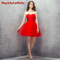 BacklakeGirl 2017 Elegant Bright Red Sexy Mini Short Evening Dress Sweetheart Ruched Organza Customized Porm Celebrity