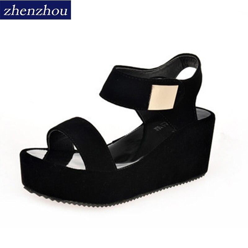 Бесплатная доставка 2017 Для женщин обувь лето новый стиль Женские Босоножки на платформе с высокий каблук и танкетка с парой сандалий