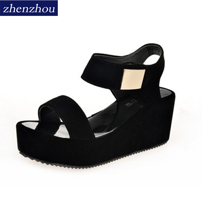 ZHENZHOU 2018 summer woman sandals new style woman's shoes sajdals platform with high heel and wedge with a pair of sandals