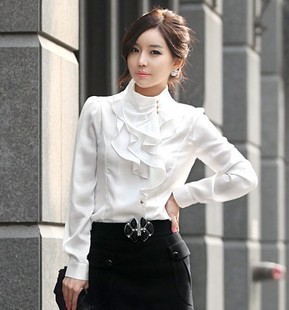 5f9a4f5341d HOT sale New Women Victorian Ruffle Collar Shirt Puff Sleeve Silky  Luxurious High Neck Blouse Tops size S XXL-in Blouses   Shirts from Women s  Clothing on ...