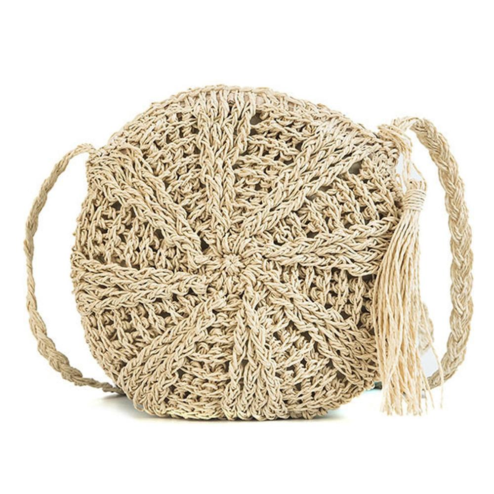 2019 New Round Women Lady Handmade Knitted Woven Rattan Bags Straw Messenger Beach Bag Girl National Handbags Messenger Bags