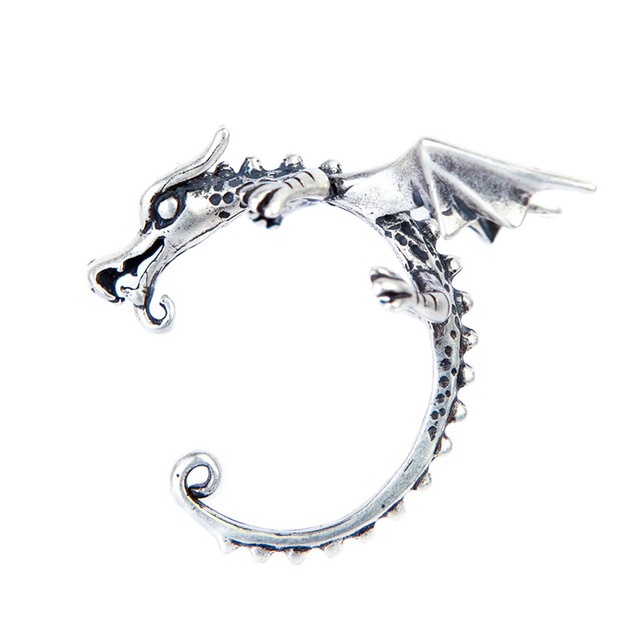 4d8fc1ebb UMGODLY Retro Silver Color Pterosaurs Clip Earrings Punk Chinese Dragon Ear  Earrings Women Fashion Prevent Allergy Jewelry Gift