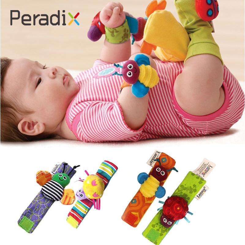 1Pair Baby Rattles Soft Baby Toy Infant Hand Wrist Bells Rattles Safety Developmental Toy Handbells Cute Cartoon Plush Rattle