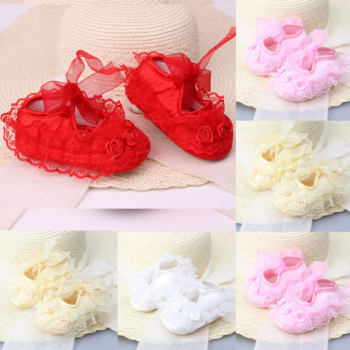 Colorful Newborn Infant Baby Girl Non-Slip Lace Flower Baby Crib Shoes Soft 2019 new 3
