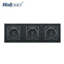 цена на Triple EU 2 Pin German Socket Wallpad Luxury Satin Metal Panel 3 Way Triple Frame EU 16A 258*86mm Wall Power Outlet Schuko