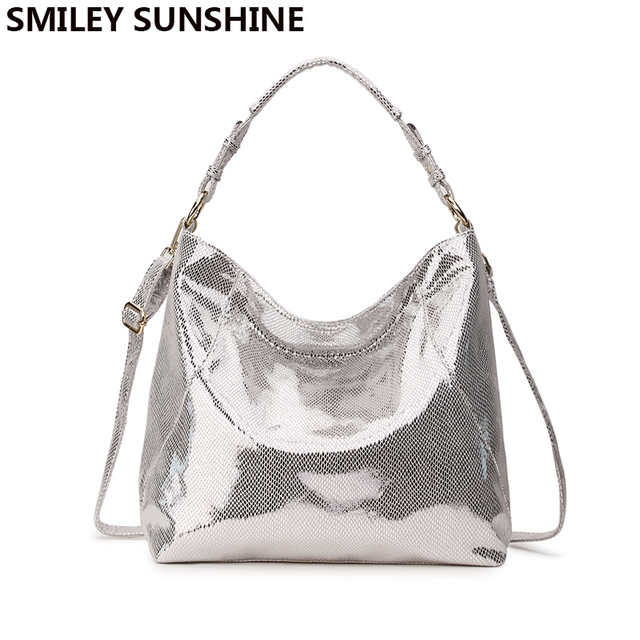 SMILEY SUNSHINE luxury brand women bag leather handbag big hobo crossbody  bag for women shoulder bag ladies silver tote hand bag 03f132d3e9