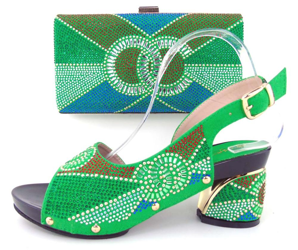 ФОТО 2017  Italian Shoe And Bag Set African Wedding Shoe And Bag Sets Women Shoe And Bag To Match For Parties GREEN