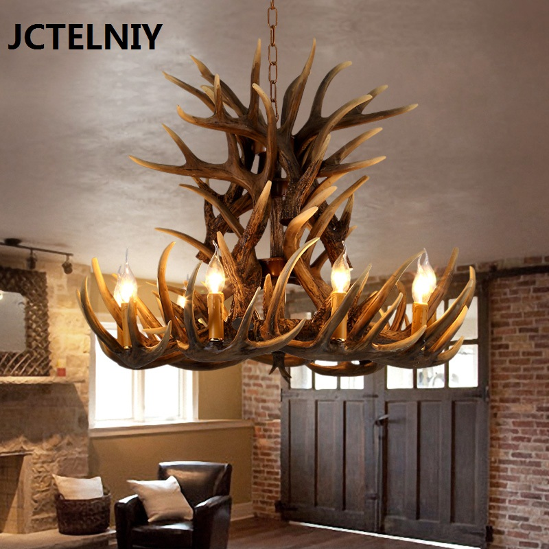 European style retro antlers chandelier American village resin chandeliers living room restaurant LED lights bar KTV lamps