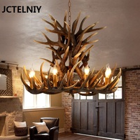 European style retro antlers chandelier American village resin chandeliers living room restaurant LED lights bar KTV lamps