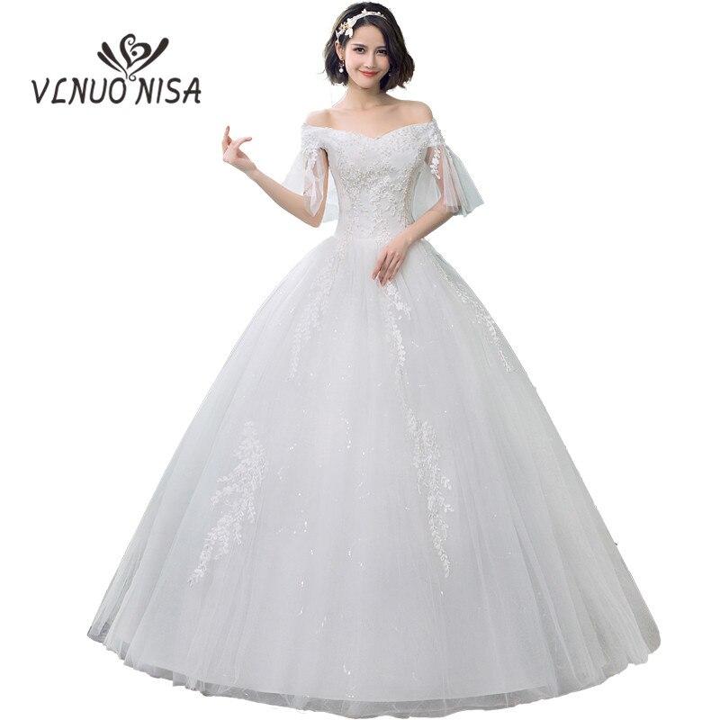 Cheap Lace Wedding Dress 2018 V Neck Off The Shoulder